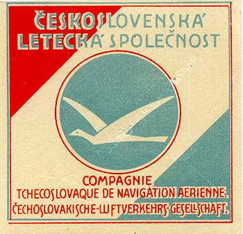 """Československá Letecká Společnost,"""" circa 1932. Luggage label ..."""