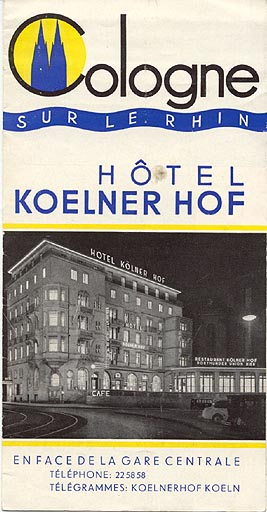 travel brochure in french for the hôtel koelner hof cologne